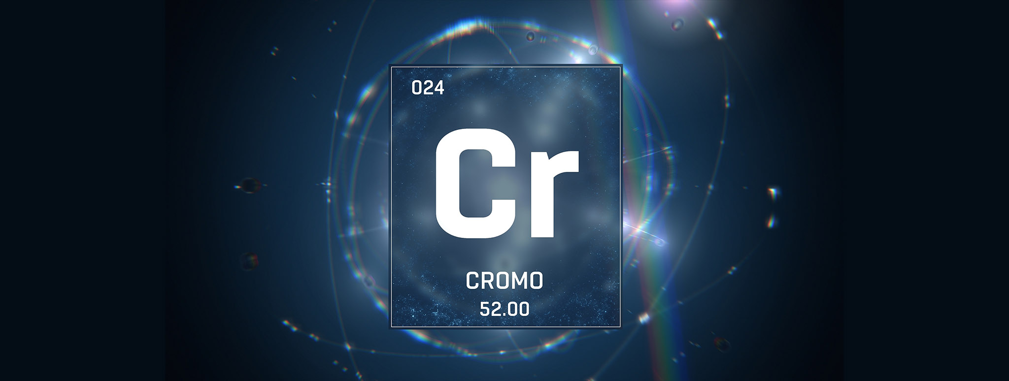 3D illustration of Chromium as Element 24 of the Periodic Table.