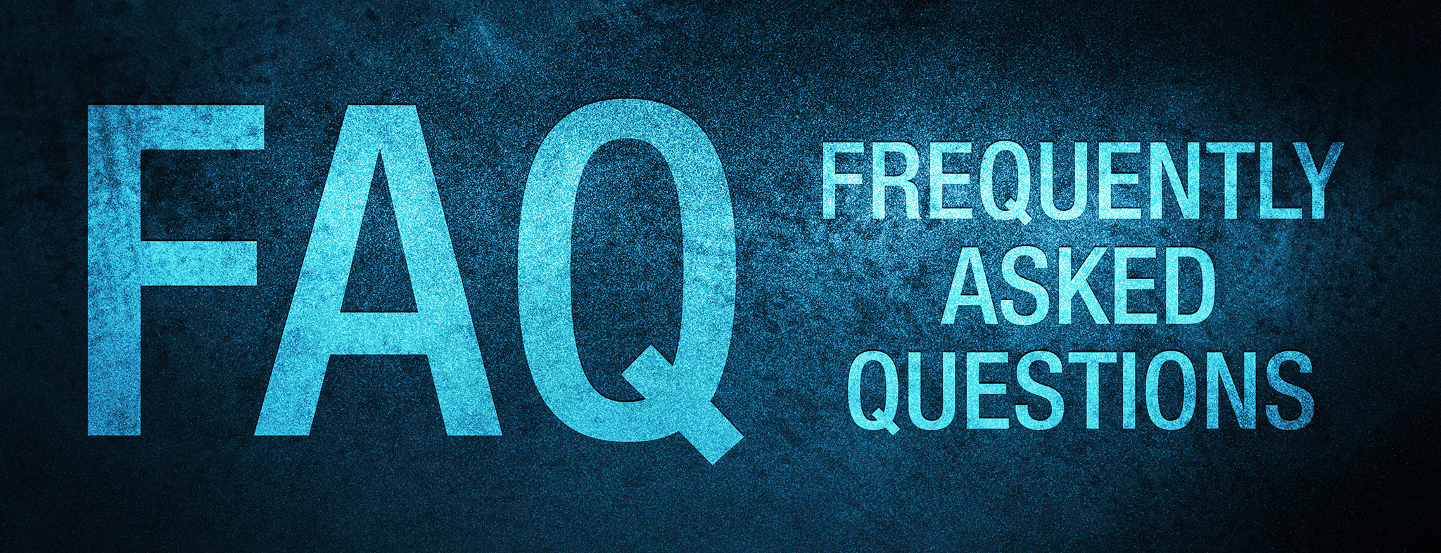 FAQ frequently asked questions isolated on special blue banner background